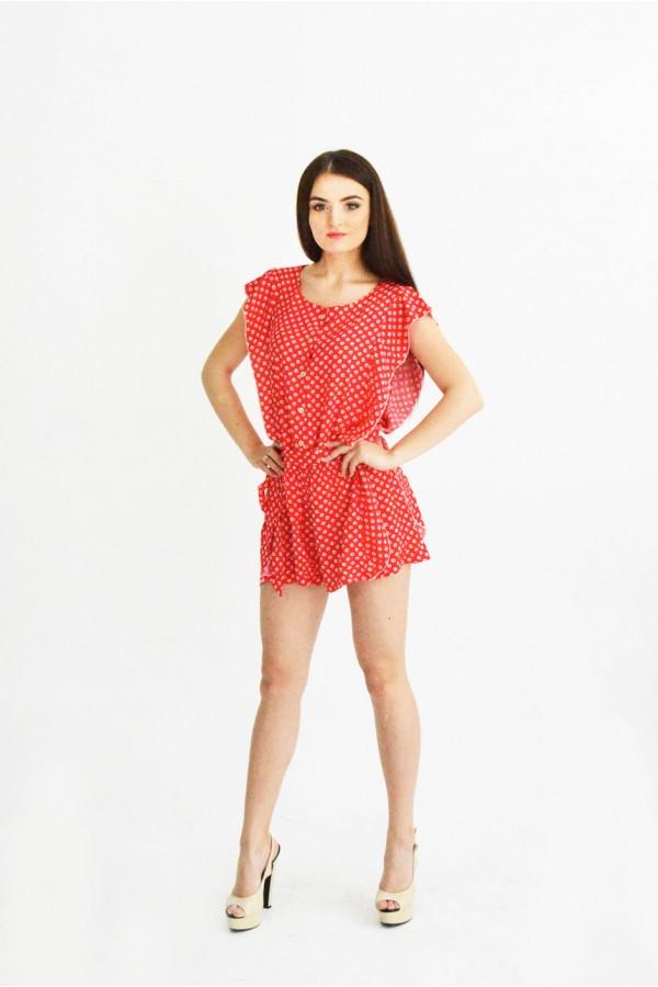Комбинезон шорты красный