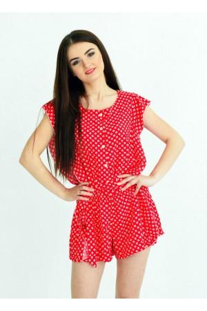 Женский комбинезон шорты красный