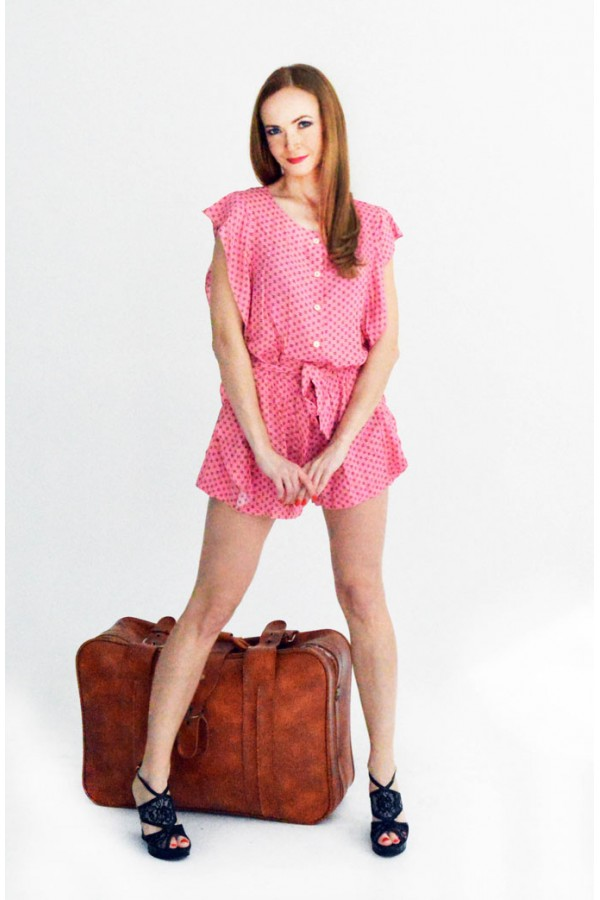 Комбинезон шорты розовый