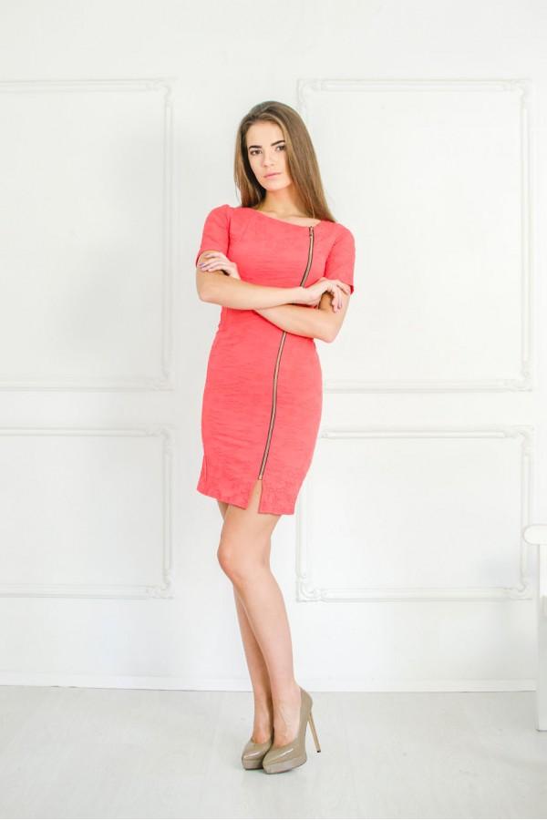 """Платье """"Фаина"""" кораловое (лето)"""