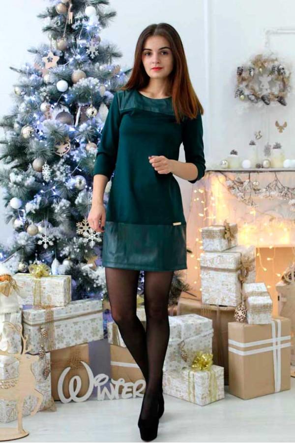 """Платье """"Моника-кожа"""" зеленое"""