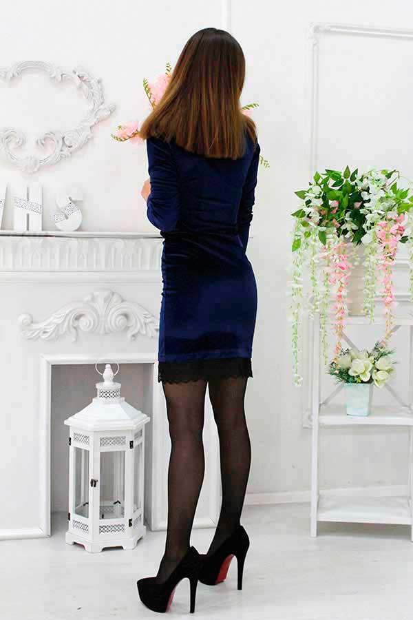 """Платье """"Бархат"""" темно-синее"""