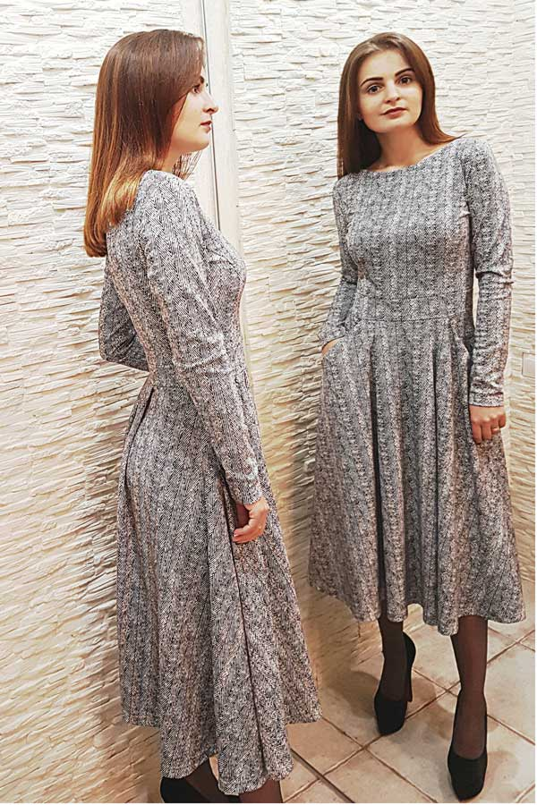 """Платье """"Кармен"""" серое"""