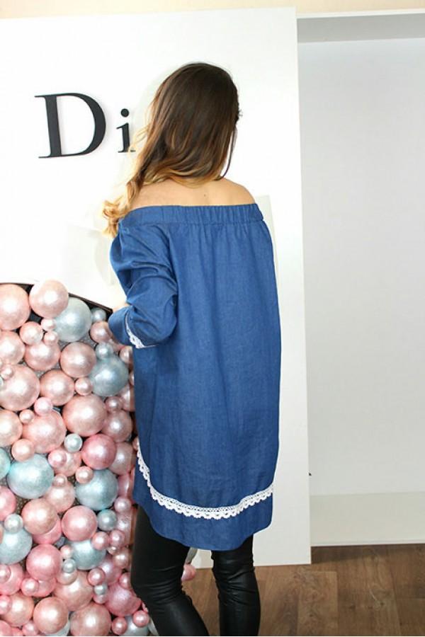 """Блуза """"Нона"""" синяя"""