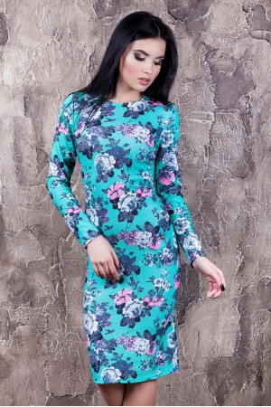 """Платье """"Тина"""" бирюзовое с цветами"""