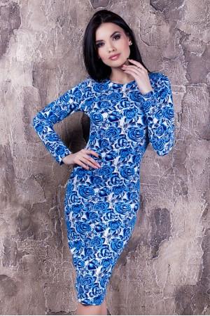 """Платье """"Тина"""" синее с цветами"""