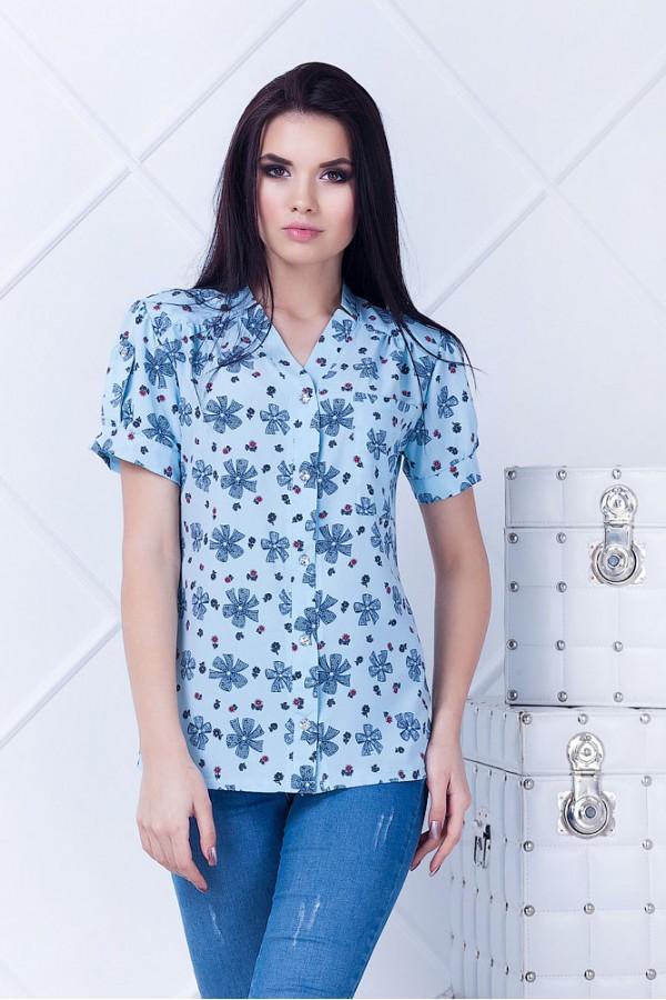 Рубашка женская Алекса голубая