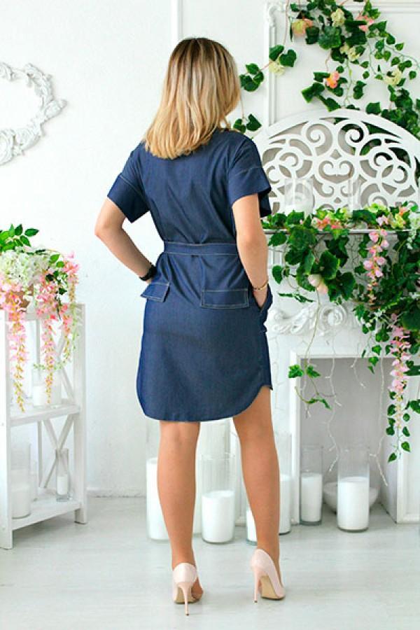 """Платье-рубашка """"Джина"""" синее"""