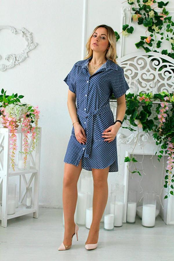 """Платье-рубашка """"Джина"""" синее горох"""