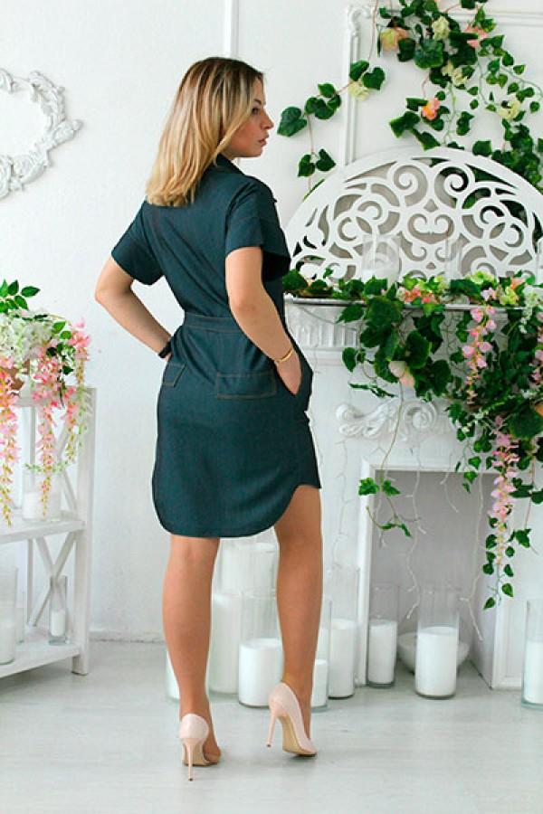 """Платье-рубашка """"Джина"""" зеленое"""