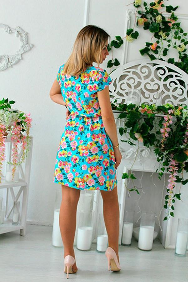 """Платье """"Василиса"""" короткое бирюзовое"""